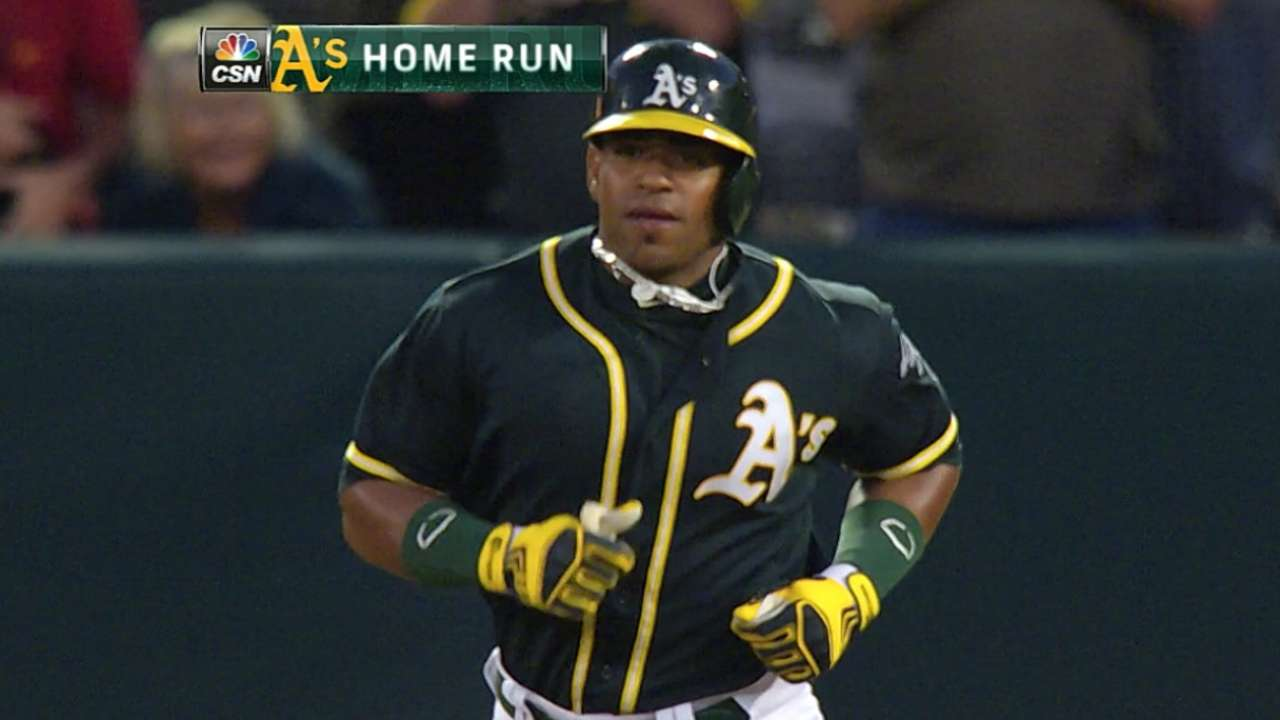 A's survive late scare on Cespedes' big night