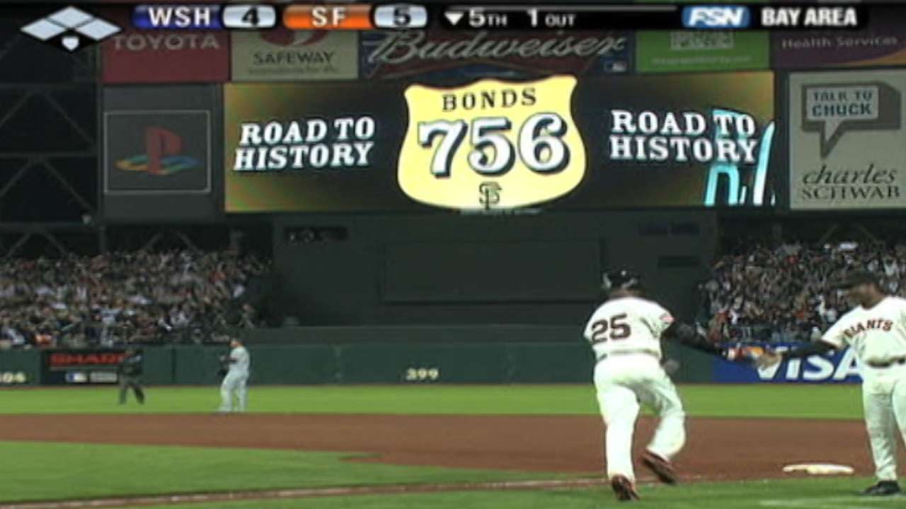 Bonds 756 sign restored at AT&T Park
