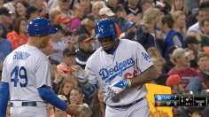 Puig triples thrice as Dodgers rout Giants