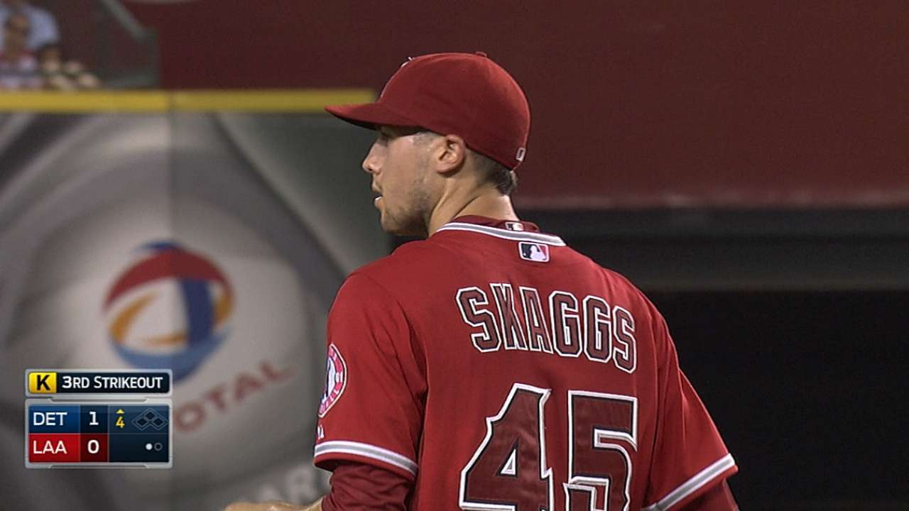 Skaggs' five strikeouts