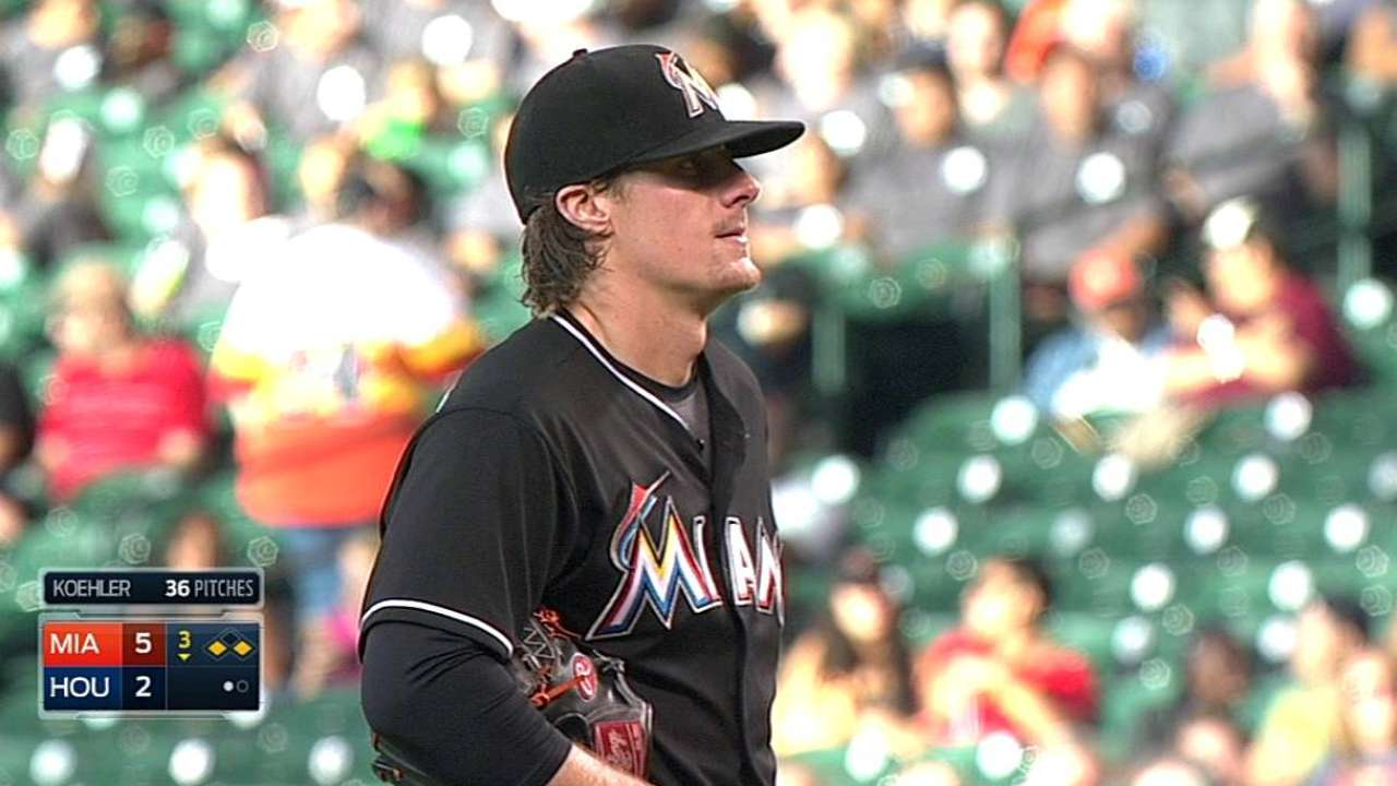Liner off Koehler's back bounces Marlins' way