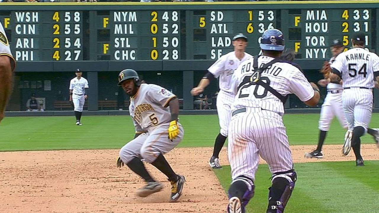 Harrison's double move in rundown stands after review