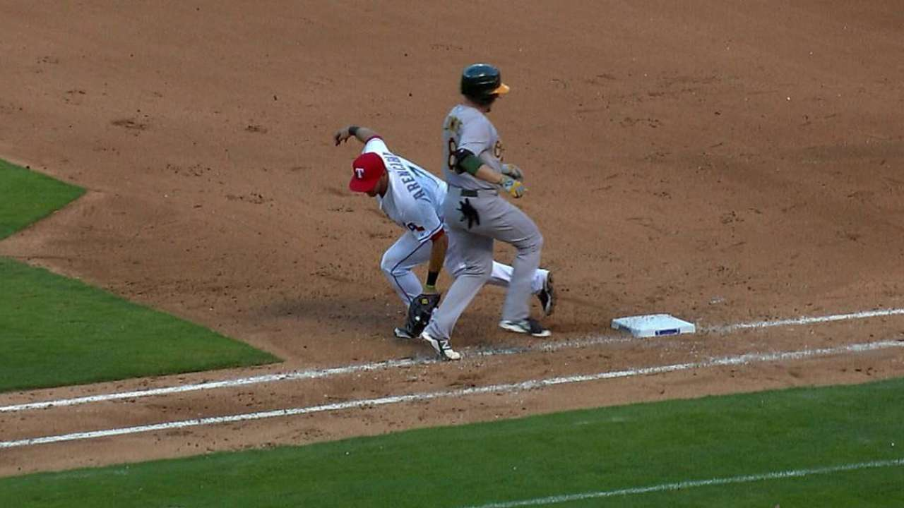 Rangers successfully challenge call vs. A's