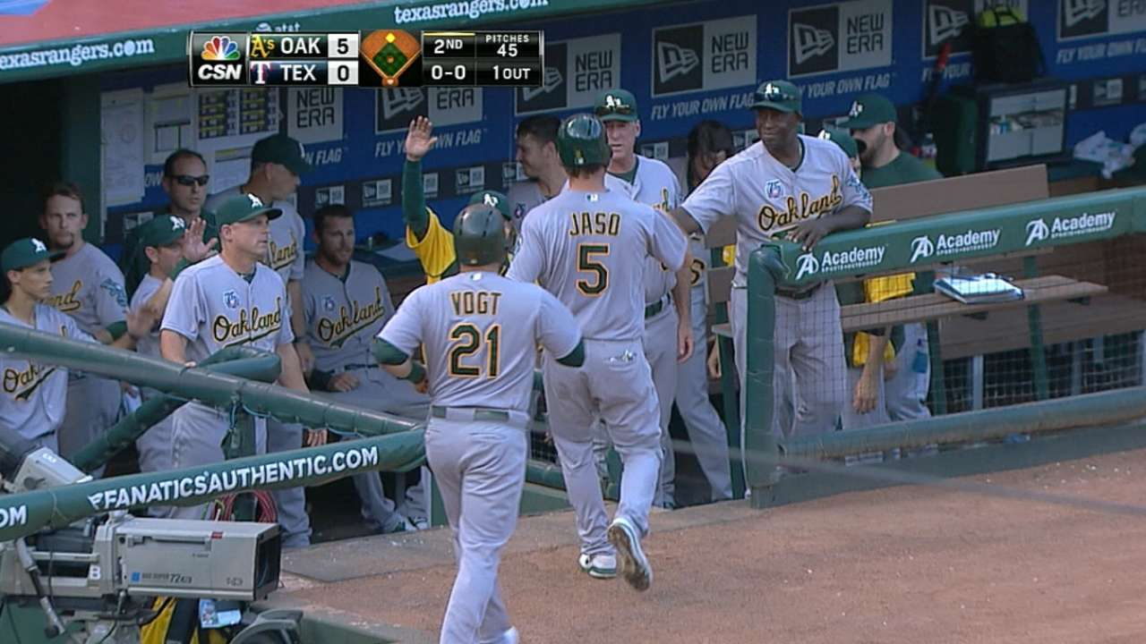 Athletics scorch Rangers on hot night in Texas