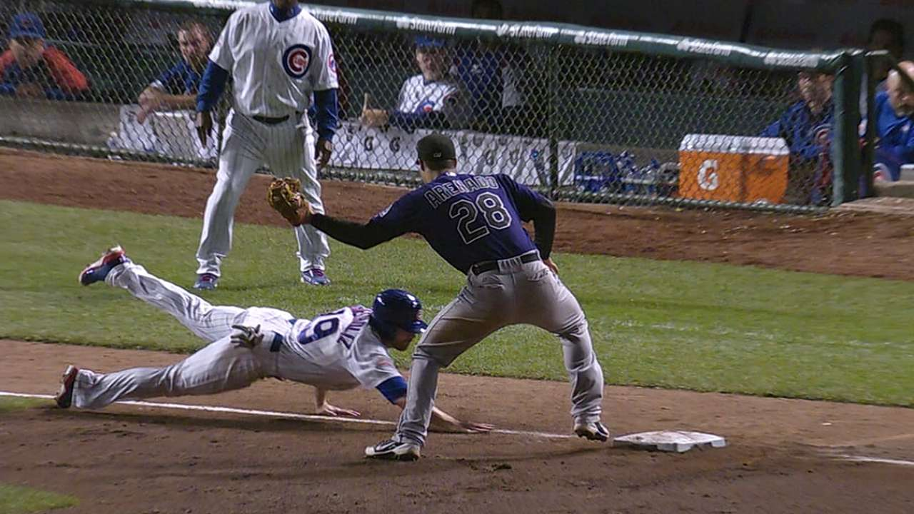 Overturned call upholds Rockies' head's-up play