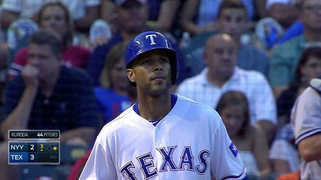 Rios exits after getting hit by pitch in left quad