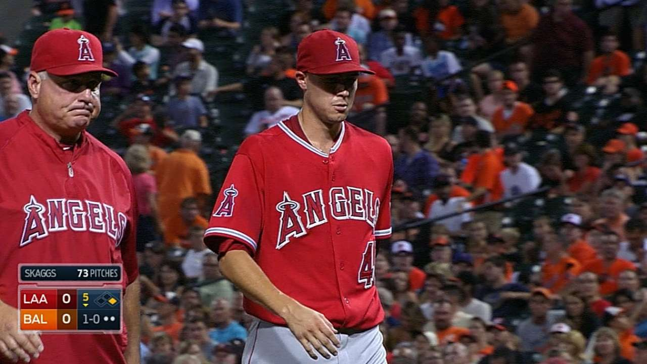Skaggs fans seven before injury