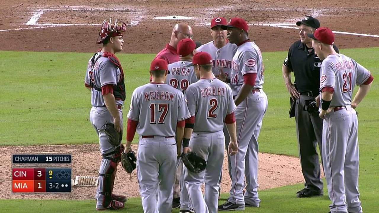 Chapman shakes off hamstring cramp during save