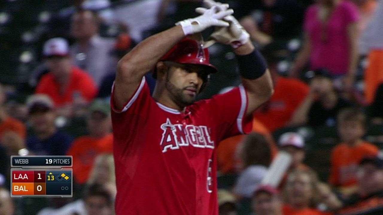 Pujols remolca en la 13ra y Angels vencen a Orioles