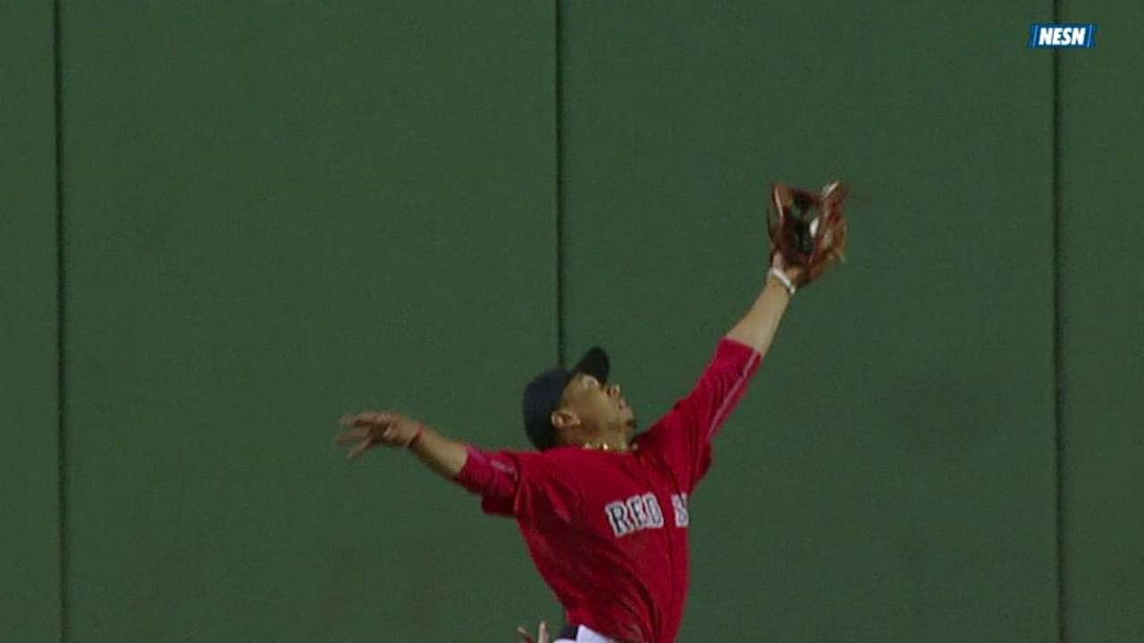Giddy up: Betts shows range to rob Ellsbury