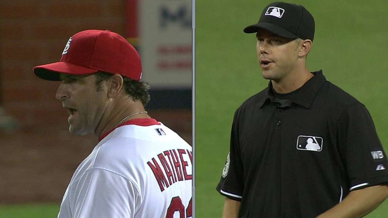 Matheny's frustration with review leads to ejection