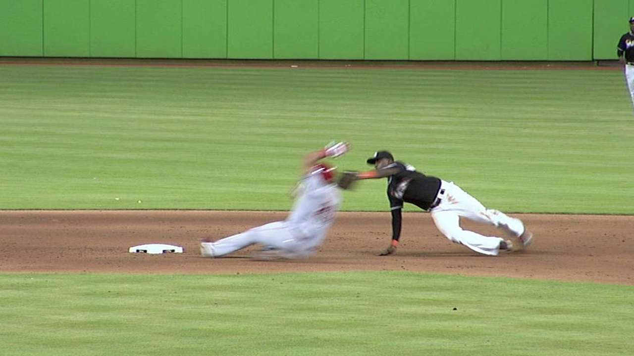 Stanton's throw to get Pena at second confirmed