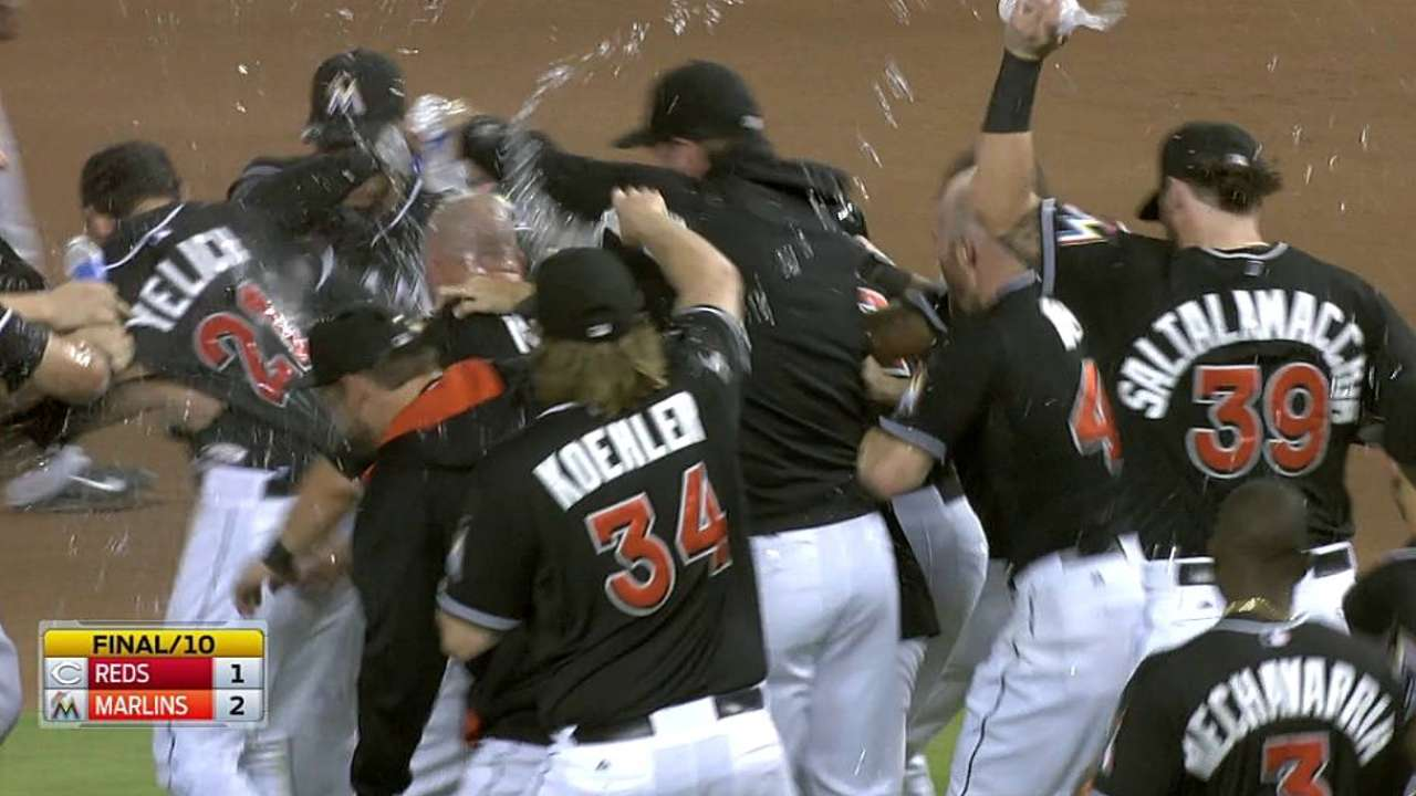 Yelich lifts Marlins in 10 after late lead gets away