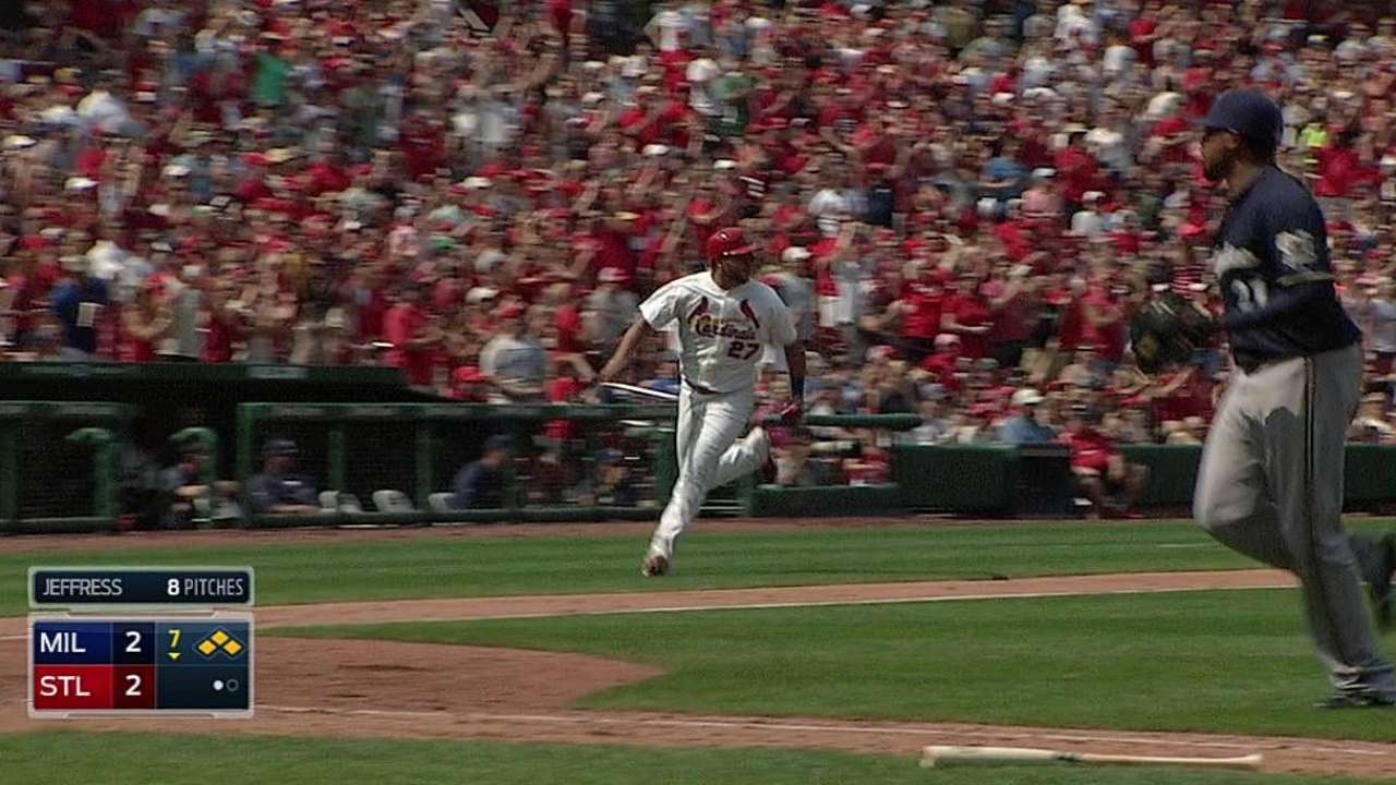 Cards rally behind Lackey's debut to stun Brewers