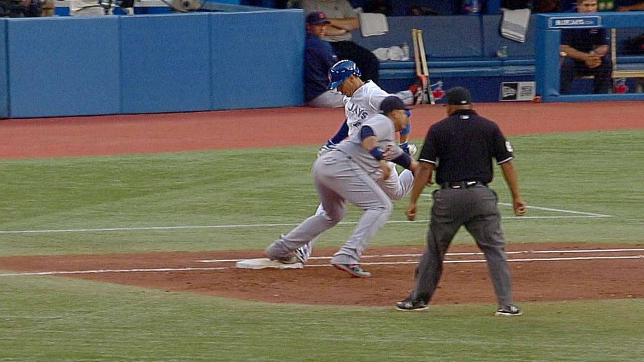 Tigers lose challenge on Blue Jays' squeeze play