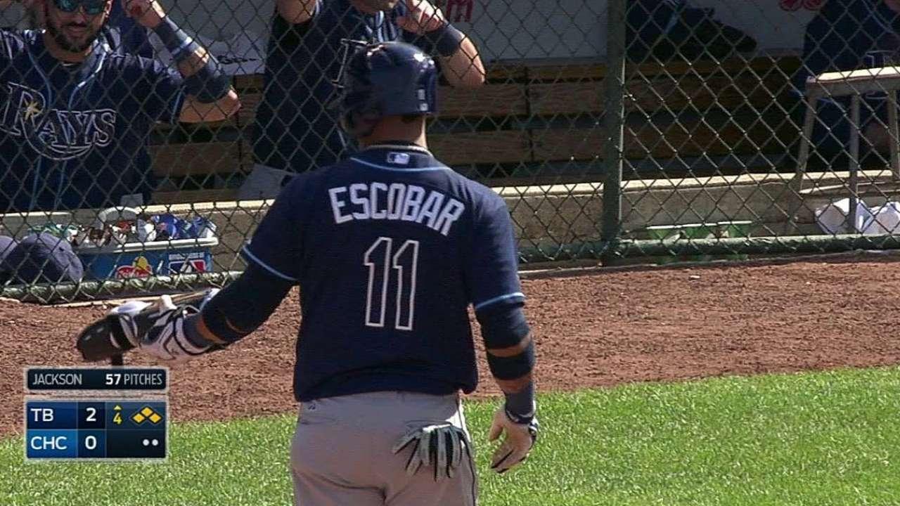 Escobar produjo tres y Rays blanquearon a Cubs