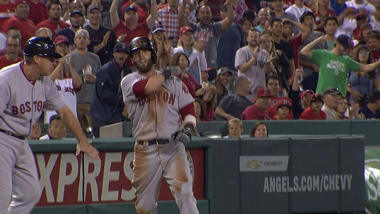 Pedroia, Sox battle but fall to Halos in 19 innings