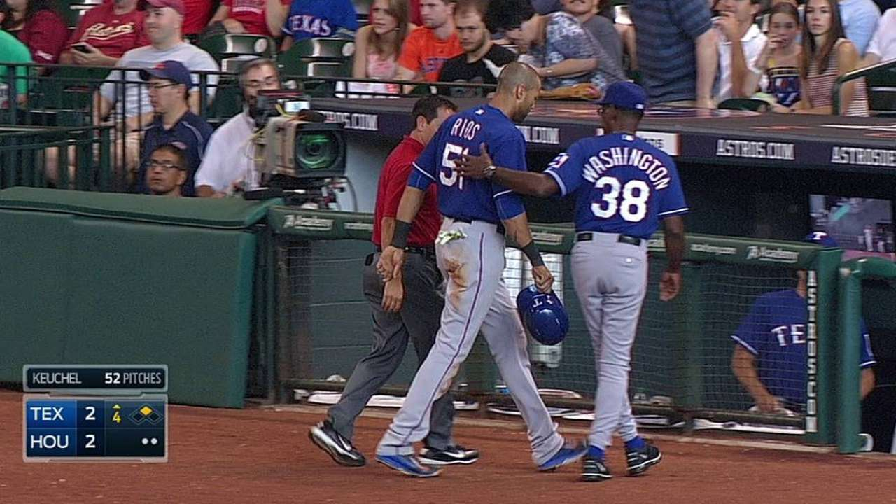 Rios re-injures sprained right ankle on play at plate