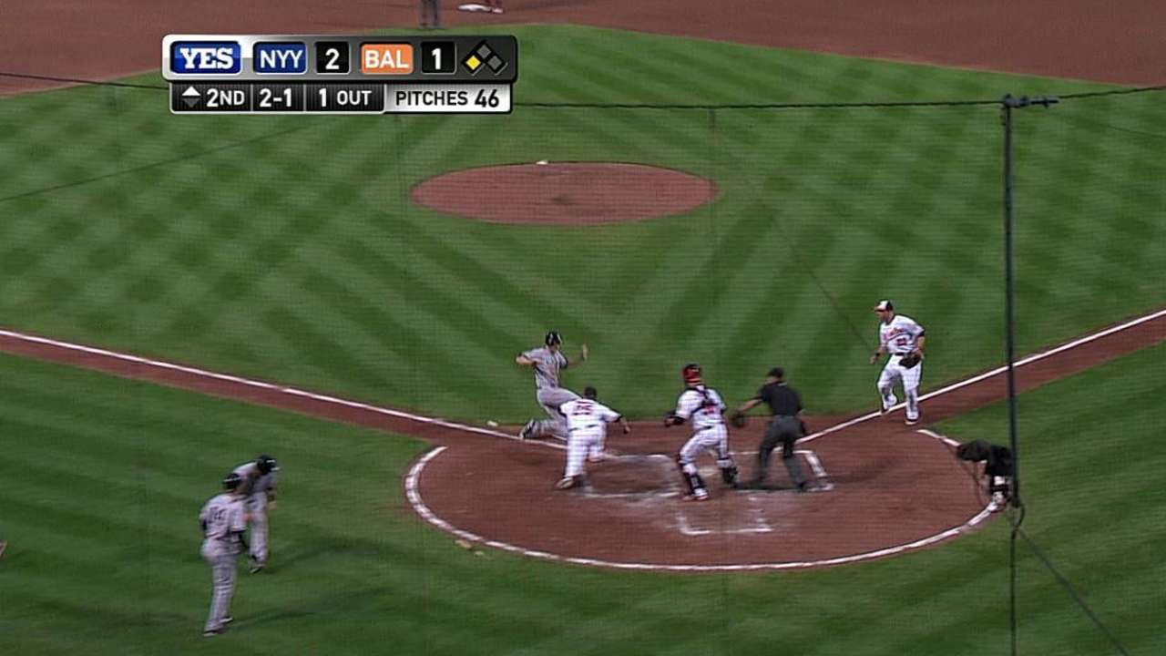 Yanks plate two on double steal, two O's errors