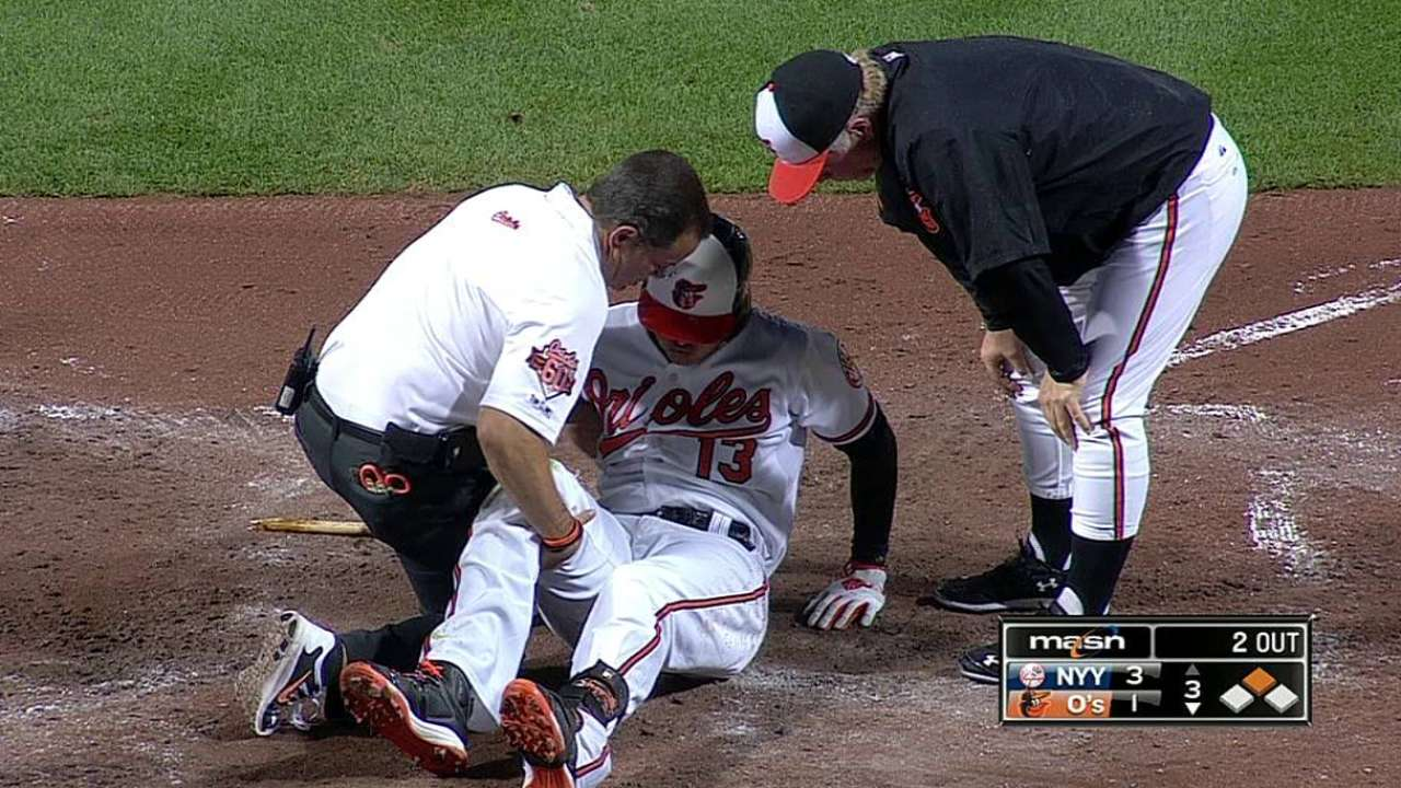 Machado sprains right knee, set to have MRI
