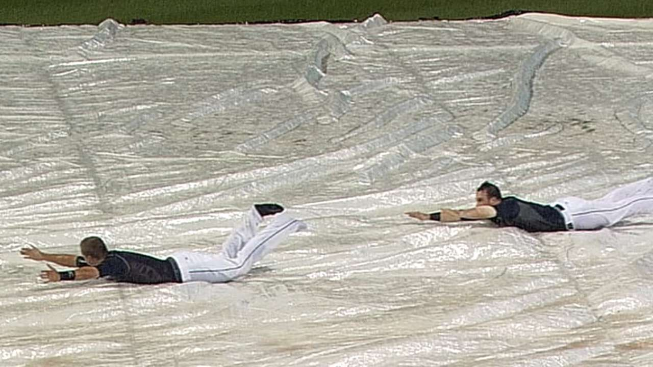 Indians have some fun after opener washed out
