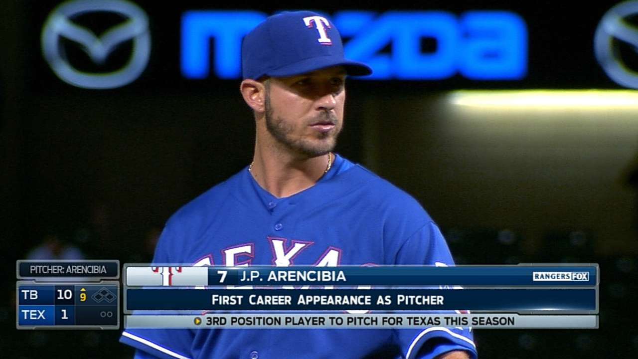 Arencibia makes it trio of position players to pitch