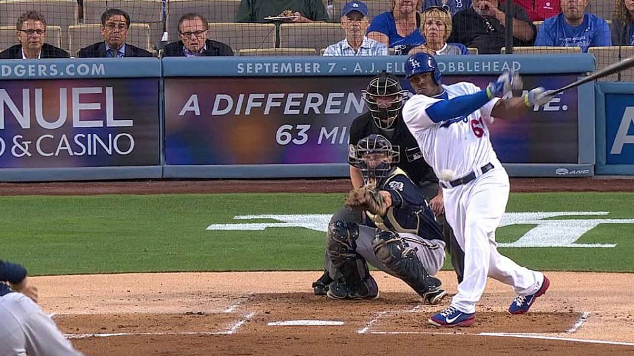 Puig pega 3 hits pero Dodgers caen con Cerveceros