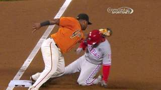 Replay confirms Rollins caught stealing by Giants