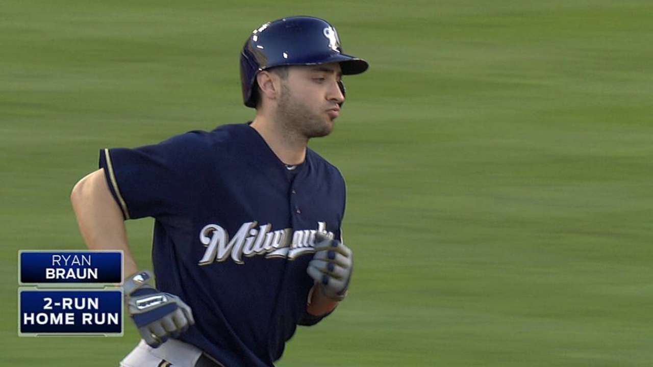 Brewers' two homers off Kershaw a rare feat