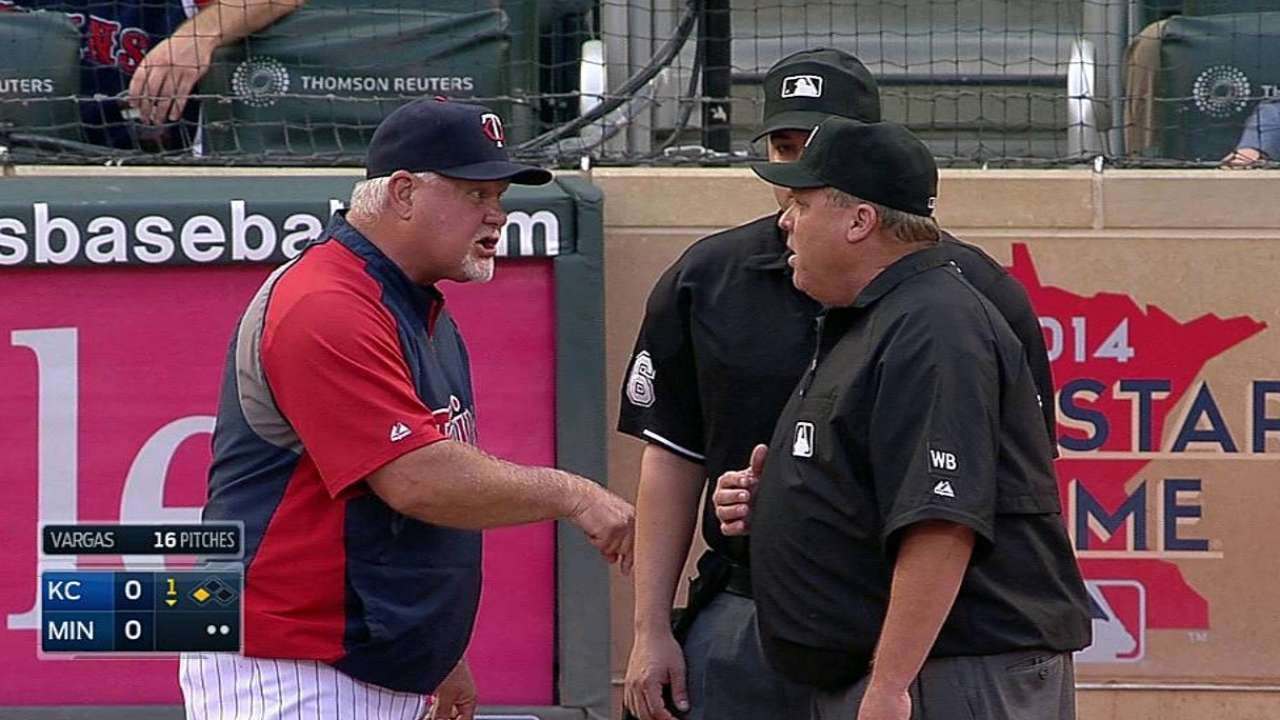 Gardenhire ejected for arguing Mauer strikeout