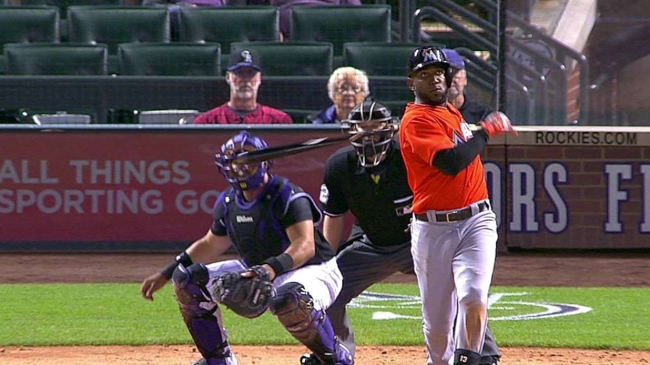 Ozuna pega grand slam y Marlins vencen a Rockies