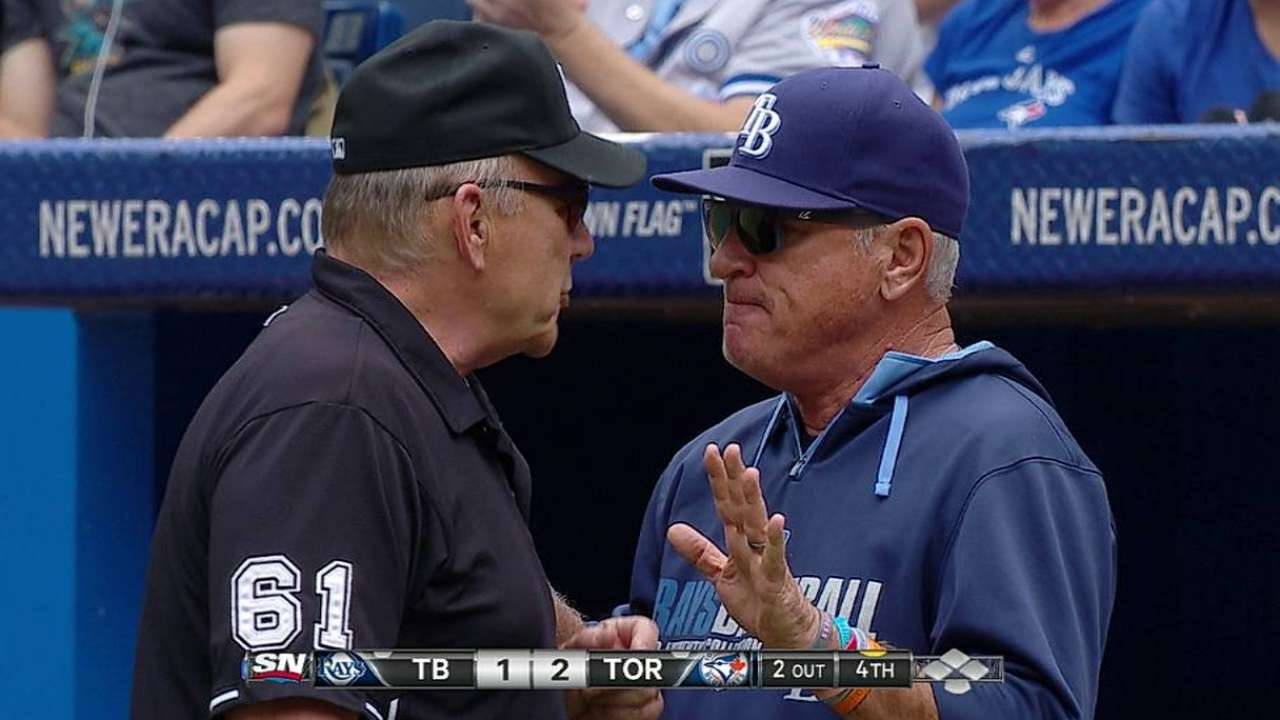 Rays protest game after Blue Jays win challenge