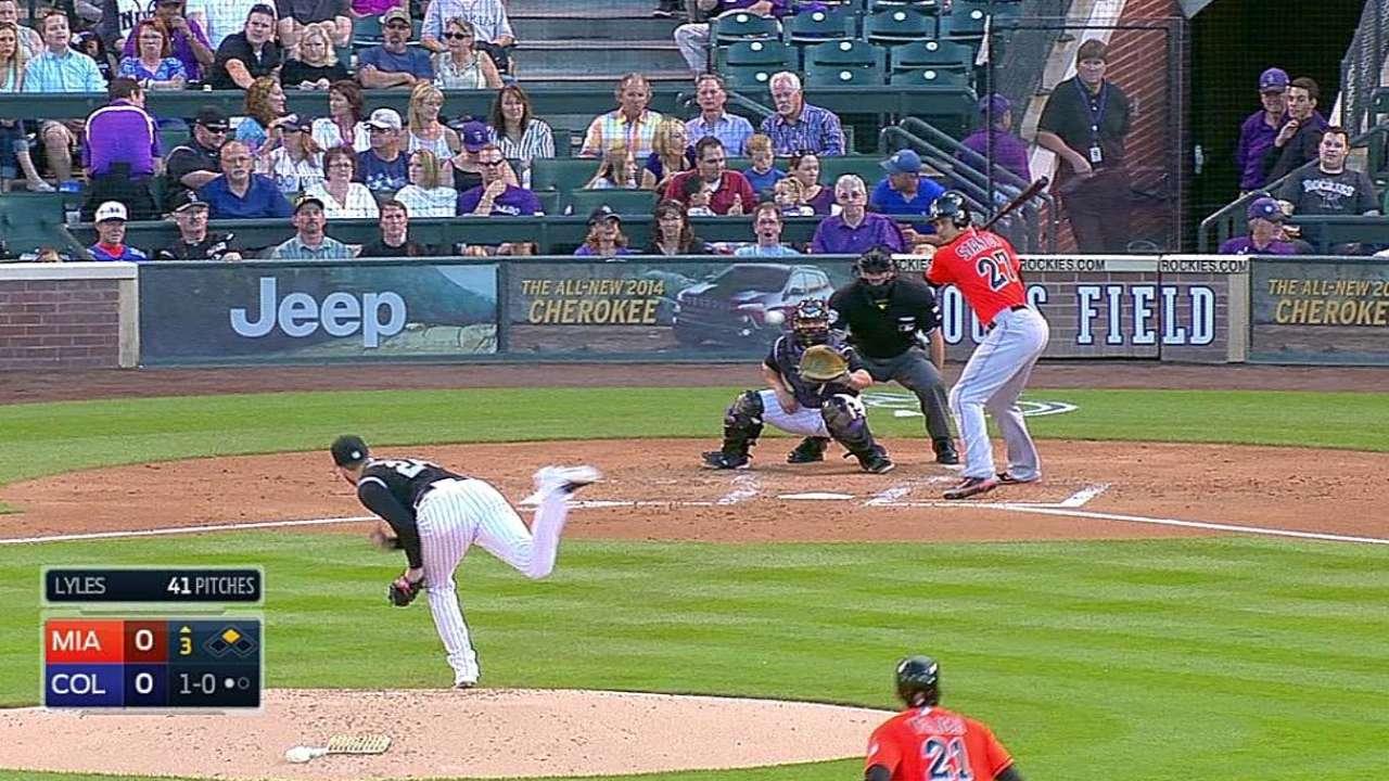 Stanton pega dos hits pero Marlins caen con Rockies