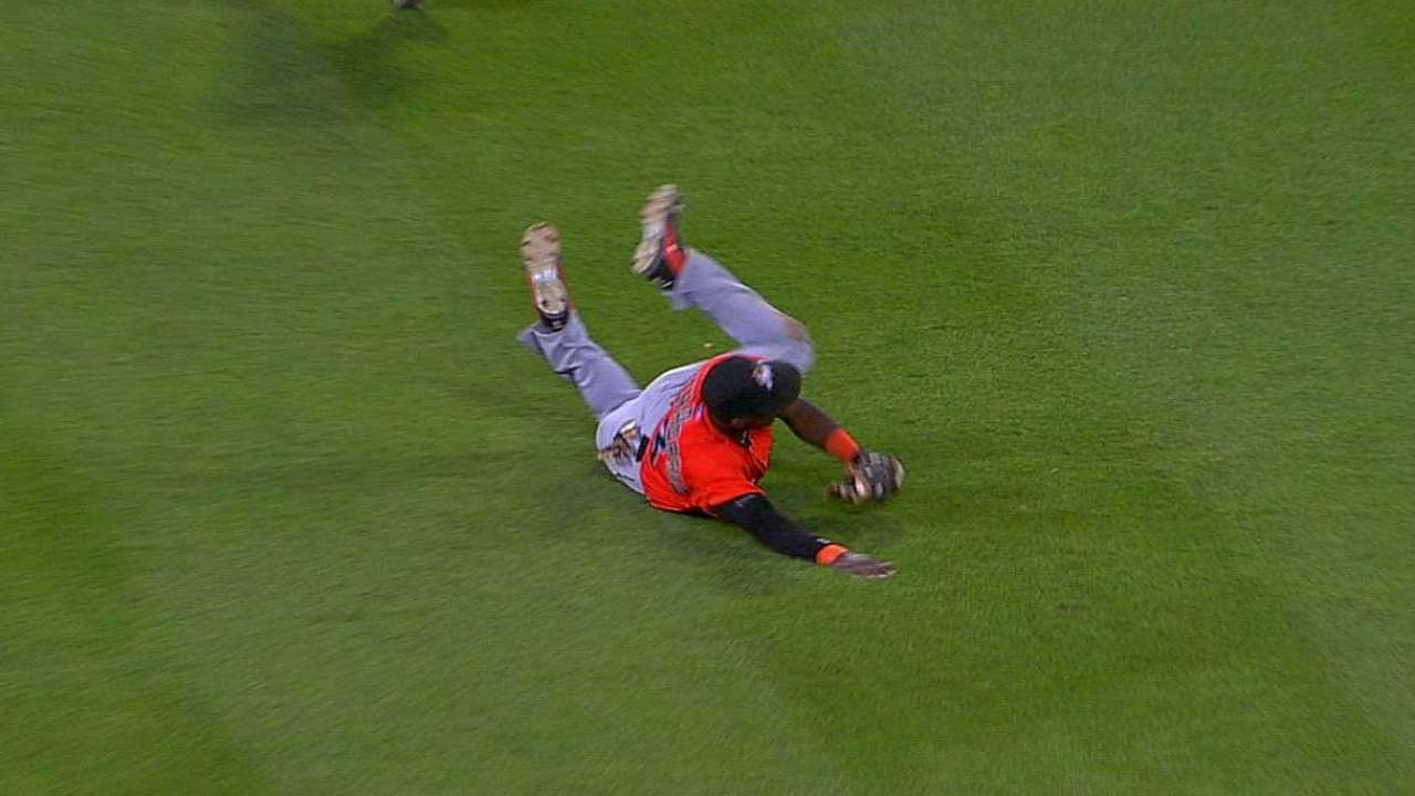 Redmond marvels at Hechavarria's run-saving grab