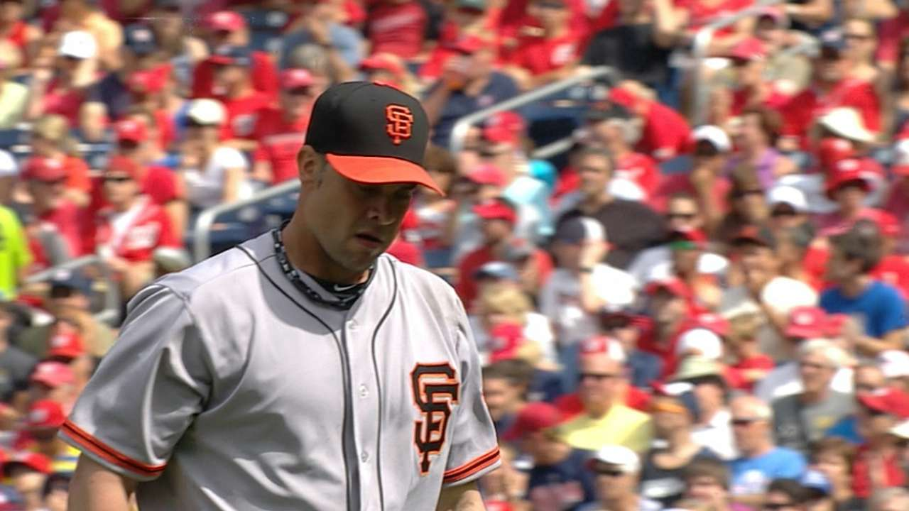Giants' relievers battered in loss to Nats