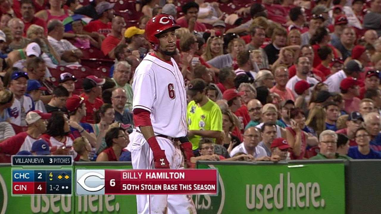 Hamilton becomes youngest Red to steal 50 bases