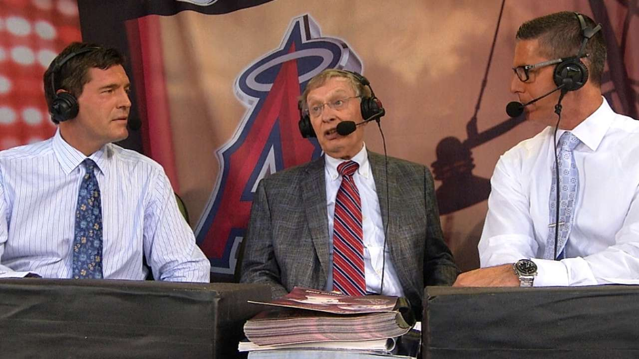 Selig visits Angels, praises Trout as next star