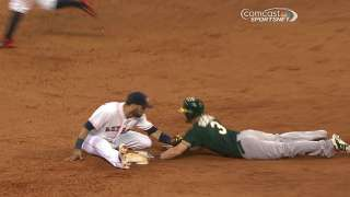Two reviews benefit A's, go against Astros