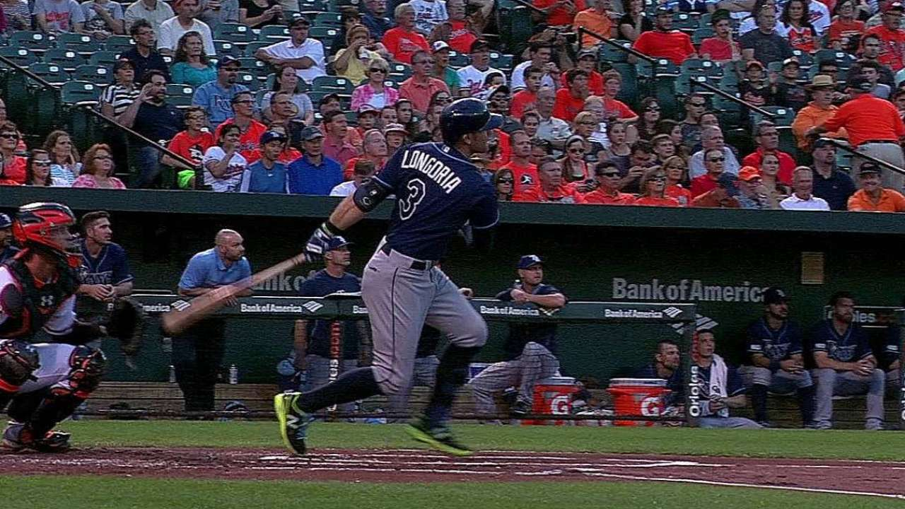 Longoria changes approach, improves at plate