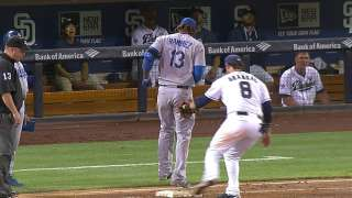 Padres win challenge on play at first