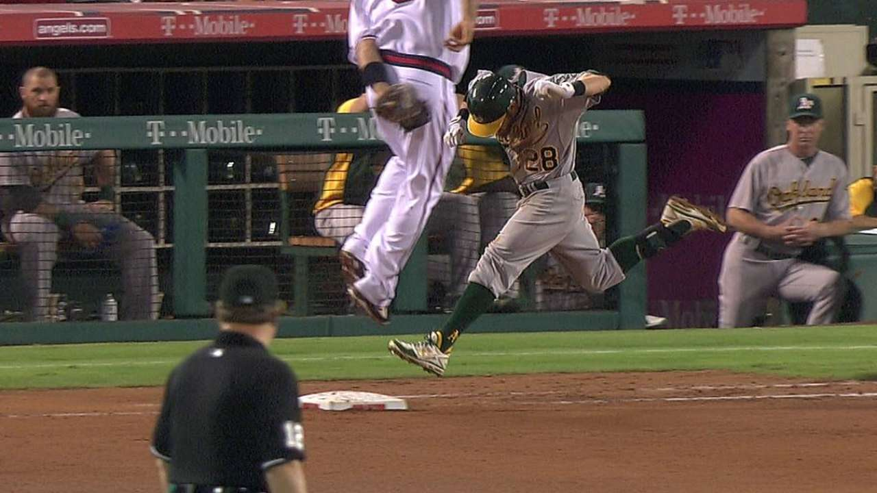Angels lose challenge on Sogard's bunt hit