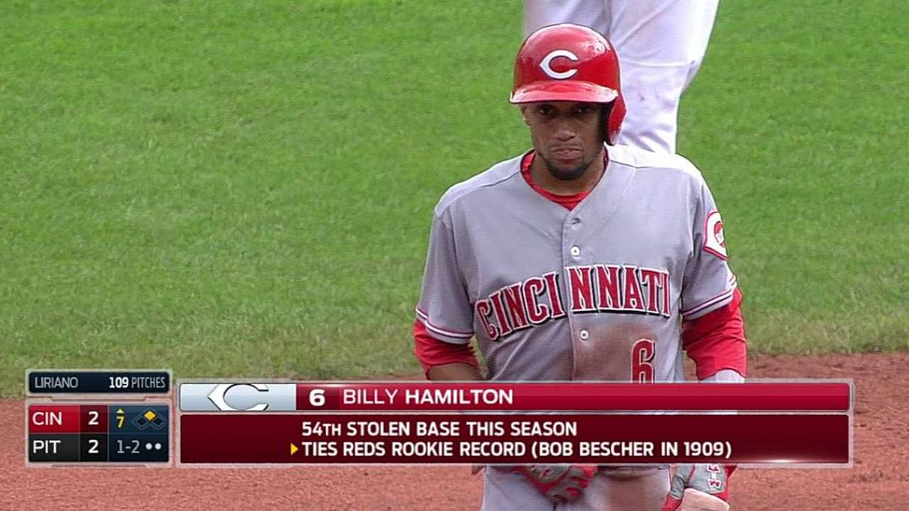 Hamilton ties Reds rookie stolen base record