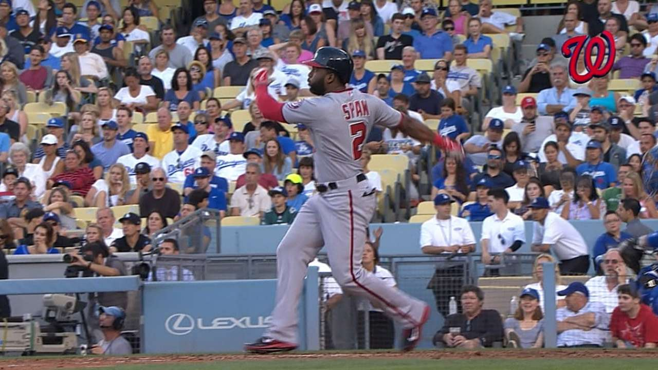 Span's two homers lead way as Nats top Dodgers