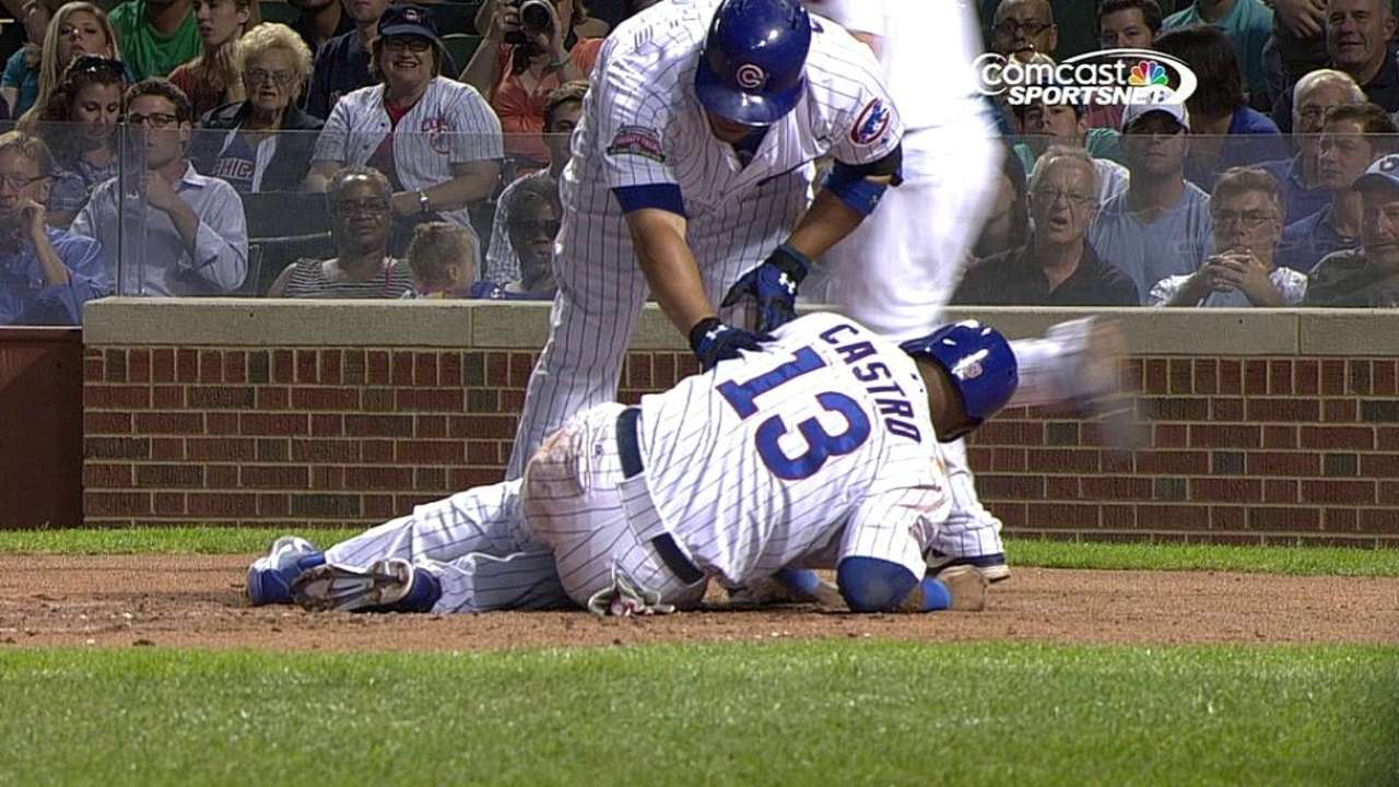 Castro sprains left ankle on slide into home