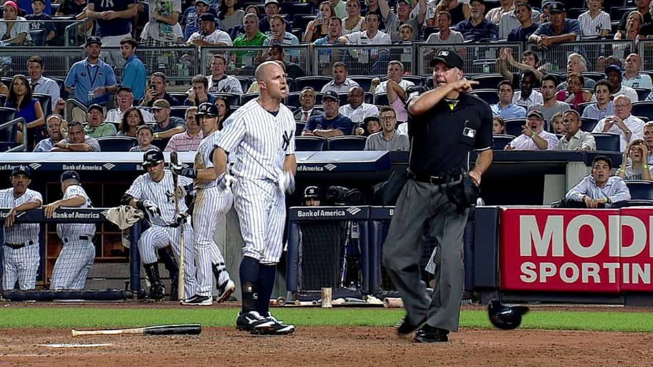 Gardner ejected for arguing called third strike