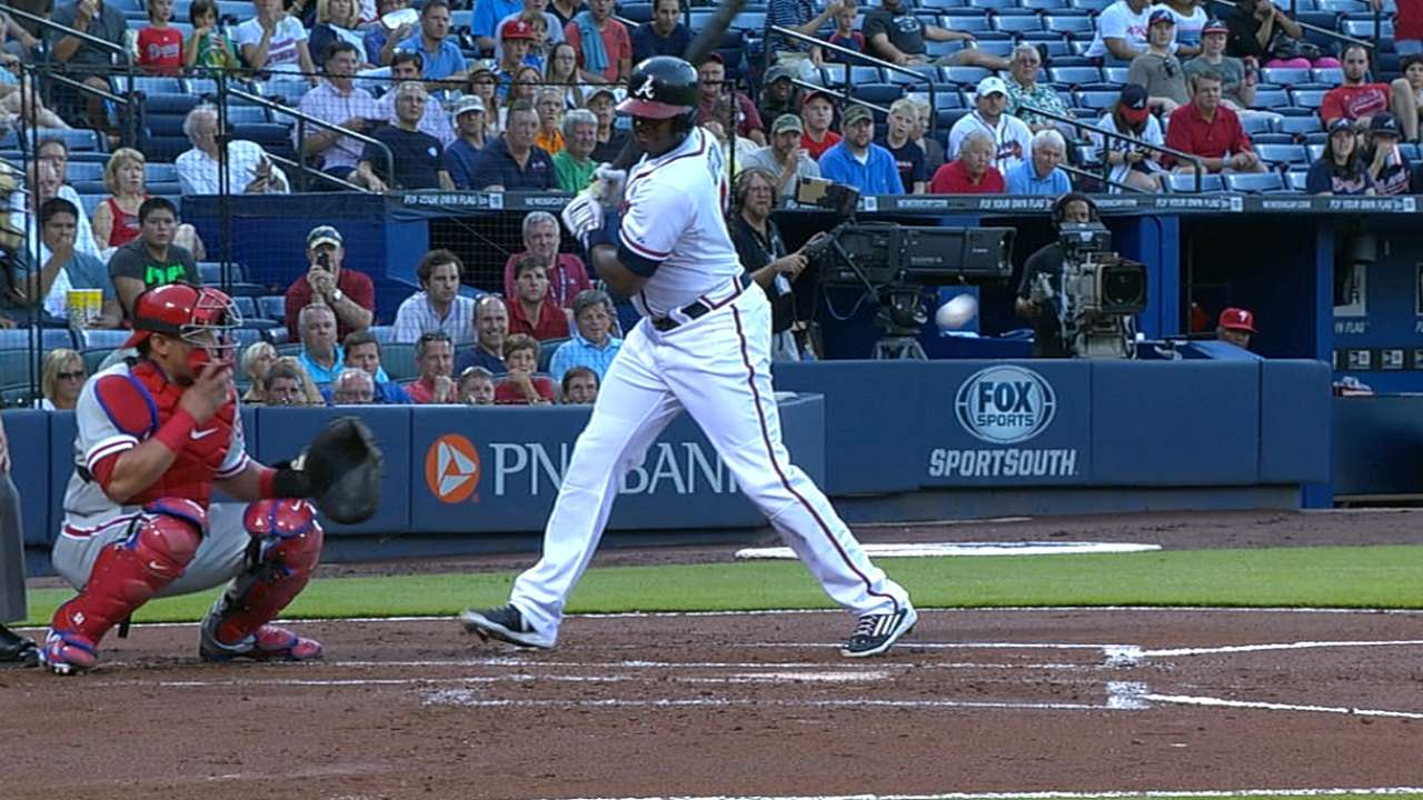 J. Upton leaves game with bruised left triceps