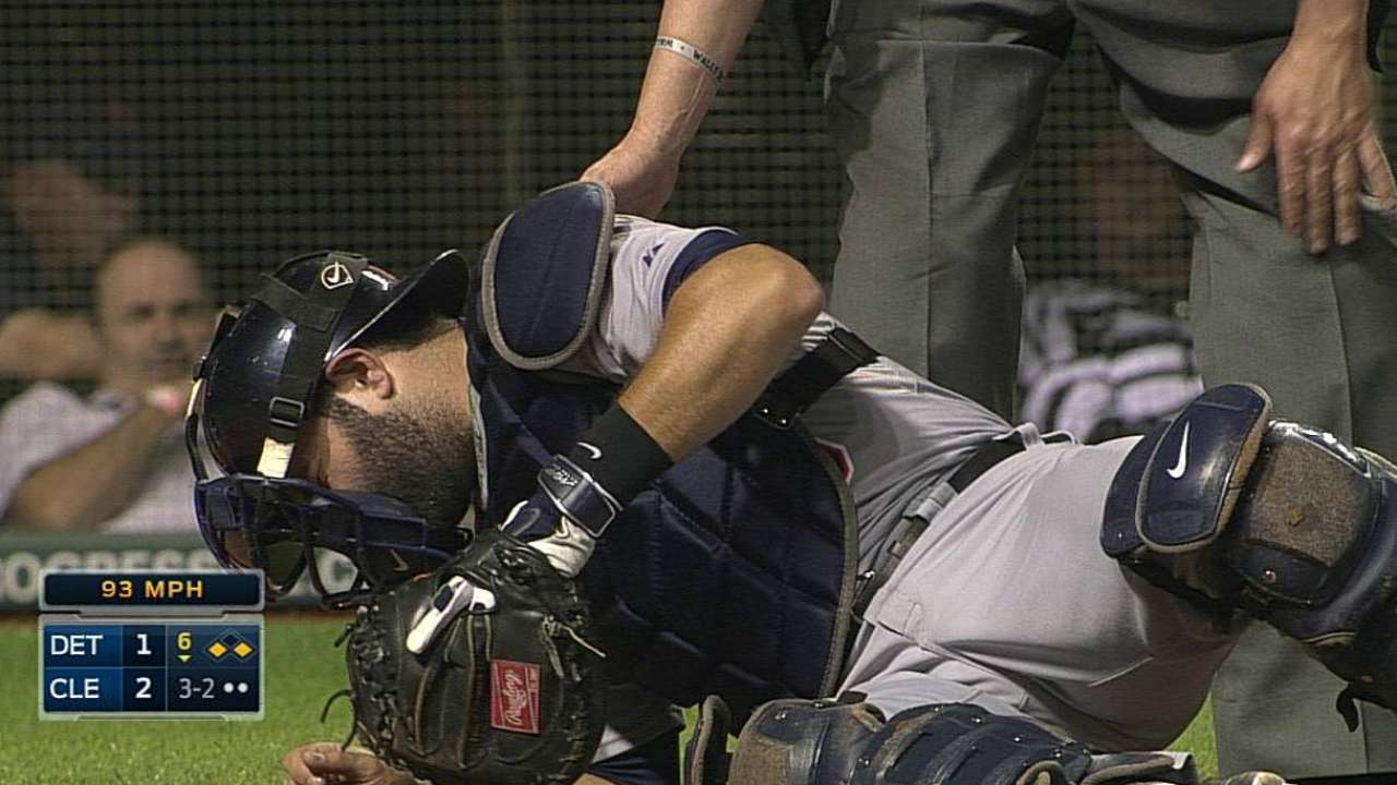 Avila day to day after foul strikes mask, forcing exit