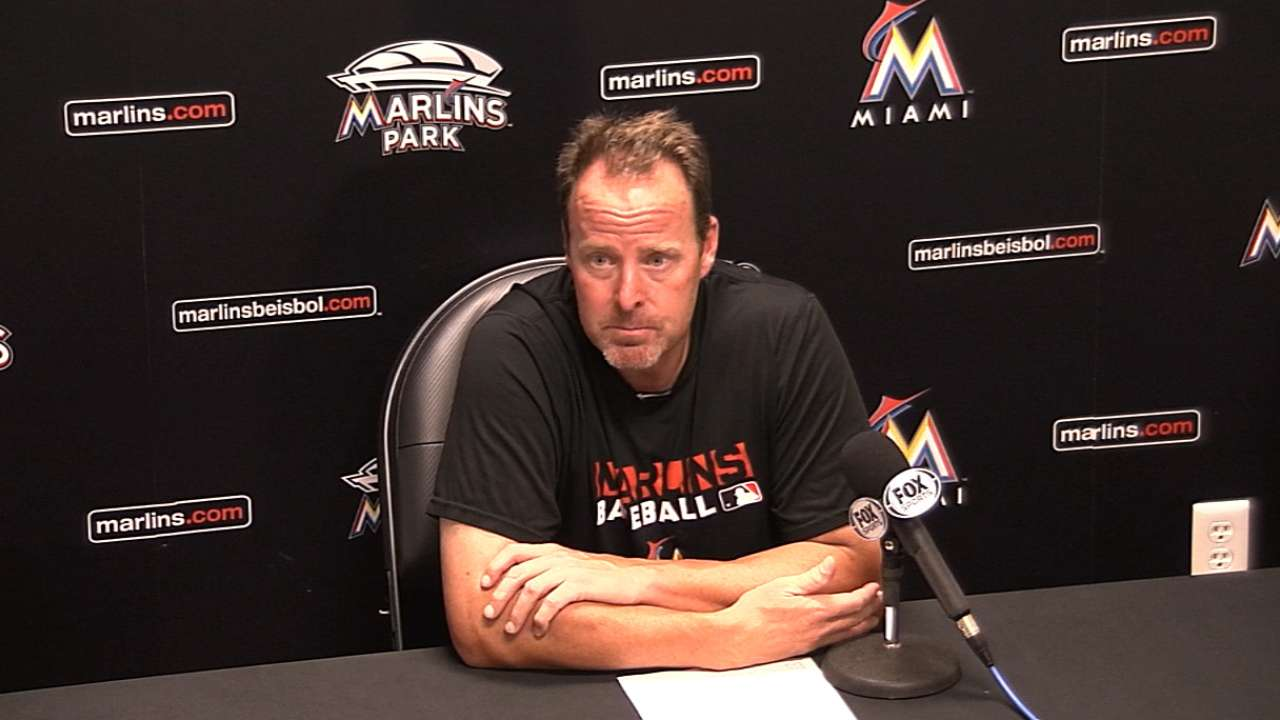 Marlins' playoff push slowed by Mets' bats