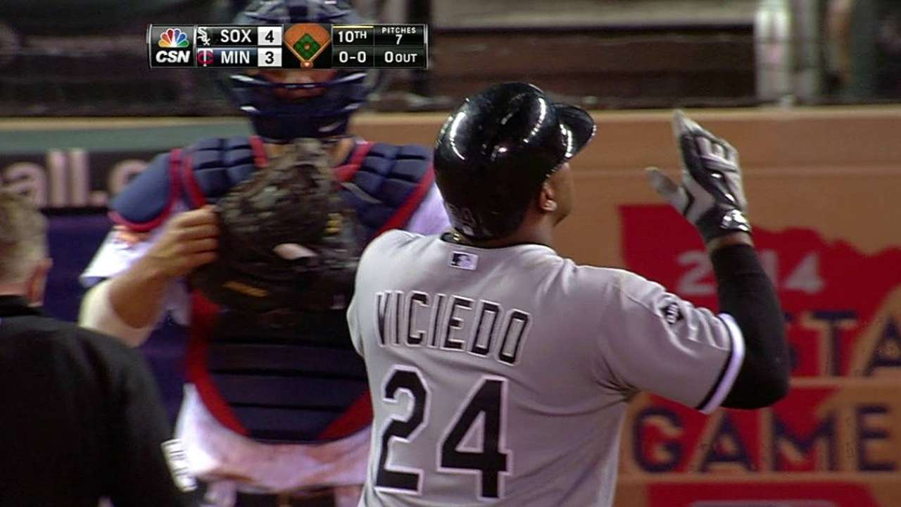 Viciedo not yet showing complete package at plate