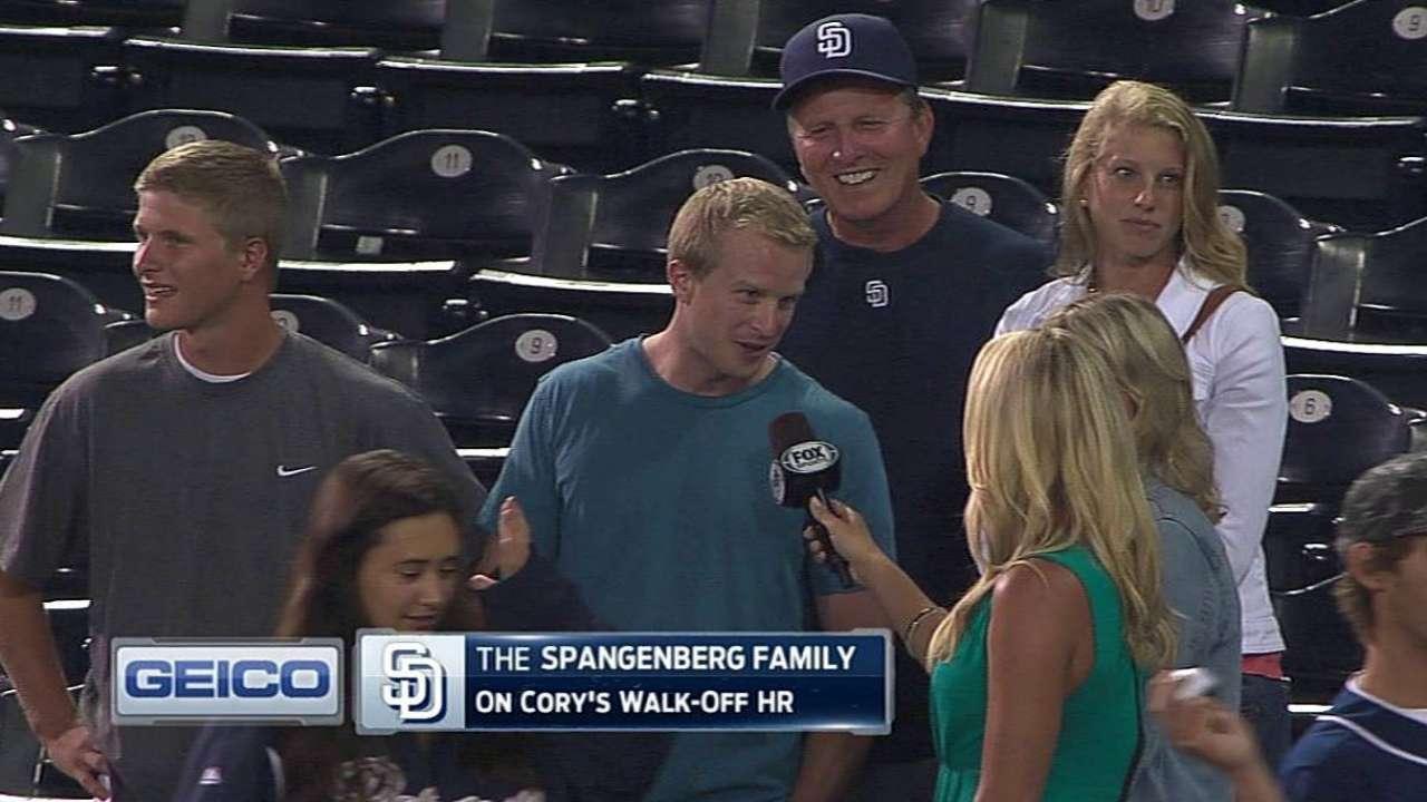 Spangenberg's family on walk-off